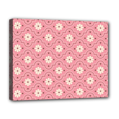 Pink Flower Floral Canvas 14  X 11  by Alisyart