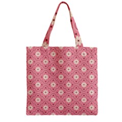Pink Flower Floral Zipper Grocery Tote Bag by Alisyart