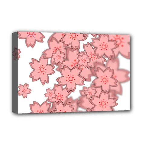 Flower Floral Pink Deluxe Canvas 18  X 12   by Alisyart