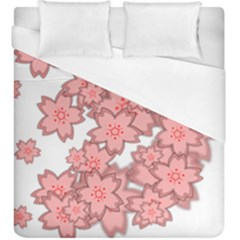 Flower Floral Pink Duvet Cover (king Size) by Alisyart