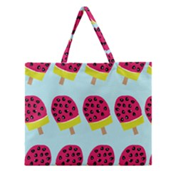 Watermelonn Red Yellow Blue Fruit Ice Zipper Large Tote Bag by Alisyart