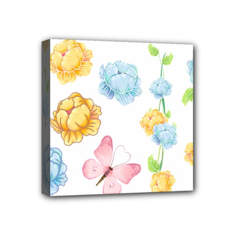Rose Flower Floral Blue Yellow Gold Butterfly Animals Pink Mini Canvas 4  X 4  by Alisyart