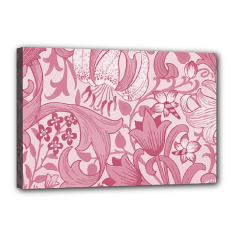 Vintage Style Floral Flower Pink Canvas 18  X 12  by Alisyart