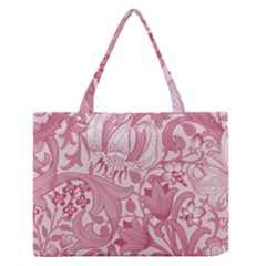 Vintage Style Floral Flower Pink Medium Zipper Tote Bag by Alisyart