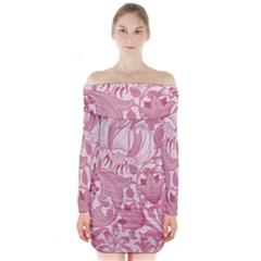 Vintage Style Floral Flower Pink Long Sleeve Off Shoulder Dress
