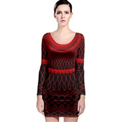 Red Spiral Featured Long Sleeve Bodycon Dress