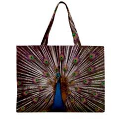 Indian Peacock Plumage Zipper Mini Tote Bag by Simbadda