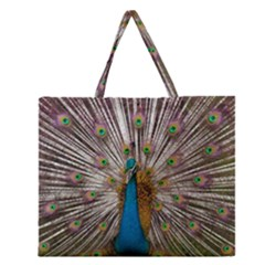 Indian Peacock Plumage Zipper Large Tote Bag by Simbadda