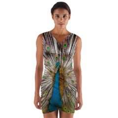 Indian Peacock Plumage Wrap Front Bodycon Dress by Simbadda