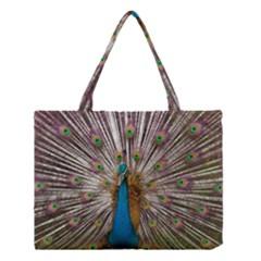 Indian Peacock Plumage Medium Tote Bag by Simbadda