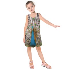 Indian Peacock Plumage Kids  Sleeveless Dress by Simbadda