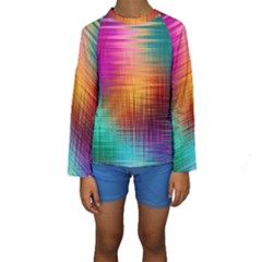 Colourful Weave Background Kids  Long Sleeve Swimwear by Simbadda