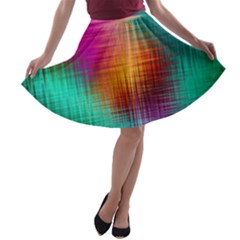 Colourful Weave Background A Line Skater Skirt by Simbadda