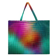 Colourful Weave Background Zipper Large Tote Bag by Simbadda
