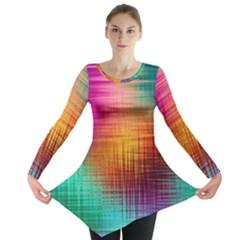 Colourful Weave Background Long Sleeve Tunic  by Simbadda