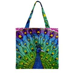 Peacock Bird Animation Zipper Grocery Tote Bag by Simbadda