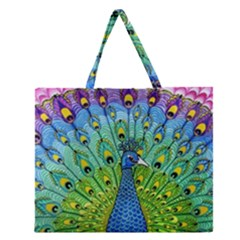 Peacock Bird Animation Zipper Large Tote Bag by Simbadda