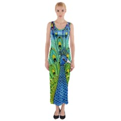 Peacock Bird Animation Fitted Maxi Dress