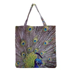 Peacock Bird Feathers Grocery Tote Bag by Simbadda