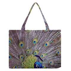 Peacock Bird Feathers Medium Zipper Tote Bag by Simbadda