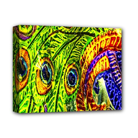 Peacock Feathers Deluxe Canvas 14  X 11  by Simbadda