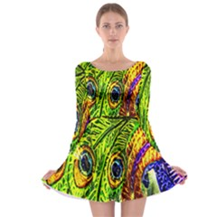Peacock Feathers Long Sleeve Skater Dress