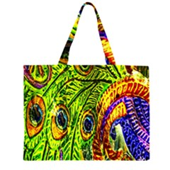 Peacock Feathers Zipper Large Tote Bag by Simbadda