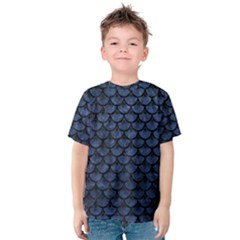 Scales3 Black Marble & Blue Stone (r) Kids  Cotton Tee by trendistuff