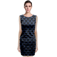 Scales3 Black Marble & Blue Stone Classic Sleeveless Midi Dress by trendistuff