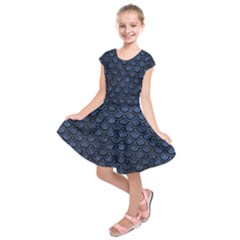 Scales2 Black Marble & Blue Stone (r) Kids  Short Sleeve Dress by trendistuff
