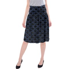 Scales2 Black Marble & Blue Stone Midi Beach Skirt by trendistuff
