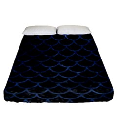 Scales1 Black Marble & Blue Stone Fitted Sheet (queen Size) by trendistuff