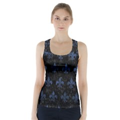 Royal1 Black Marble & Blue Stone (r) Racer Back Sports Top by trendistuff