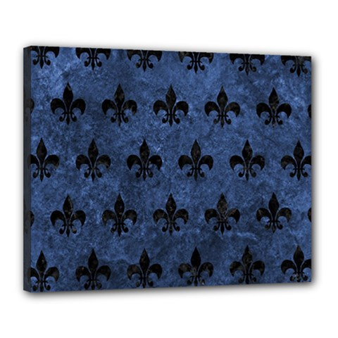 Royal1 Black Marble & Blue Stone Canvas 20  X 16  (stretched) by trendistuff