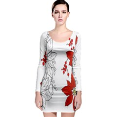 Poinsettia Flower Coloring Page Long Sleeve Bodycon Dress by Simbadda