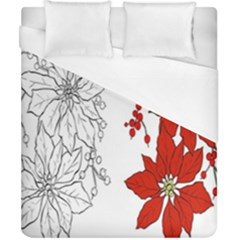 Poinsettia Flower Coloring Page Duvet Cover (california King Size) by Simbadda