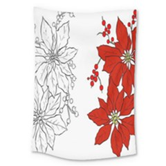 Poinsettia Flower Coloring Page Large Tapestry by Simbadda