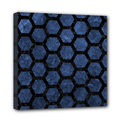 Hexagon2 Black Marble & Blue Stone (r) Mini Canvas 8  X 8  (stretched) by trendistuff