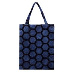 Hexagon2 Black Marble & Blue Stone (r) Classic Tote Bag by trendistuff