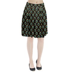 Peacock Inspired Background Pleated Skirt