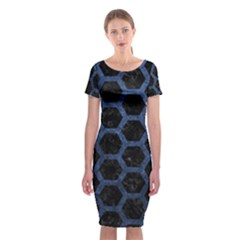 Hexagon2 Black Marble & Blue Stone Classic Short Sleeve Midi Dress by trendistuff