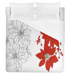 Poinsettia Flower Coloring Page Duvet Cover (queen Size) by Simbadda
