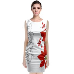 Poinsettia Flower Coloring Page Classic Sleeveless Midi Dress