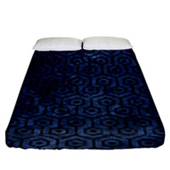 Hexagon1 Black Marble & Blue Stone (r) Fitted Sheet (king Size) by trendistuff