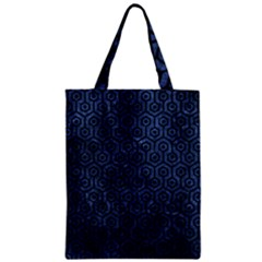 Hexagon1 Black Marble & Blue Stone (r) Zipper Classic Tote Bag by trendistuff