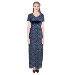 Hexagon1 Black Marble & Blue Stone (r) Short Sleeve Maxi Dress by trendistuff