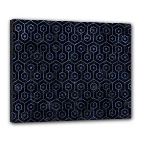 Hexagon1 Black Marble & Blue Stone Canvas 20  X 16  (stretched) by trendistuff