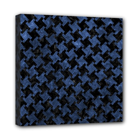 Houndstooth2 Black Marble & Blue Stone Mini Canvas 8  X 8  (stretched) by trendistuff