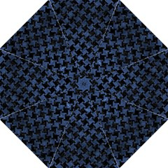 Houndstooth2 Black Marble & Blue Stone Folding Umbrella by trendistuff