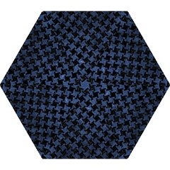 Houndstooth2 Black Marble & Blue Stone Mini Folding Umbrella by trendistuff